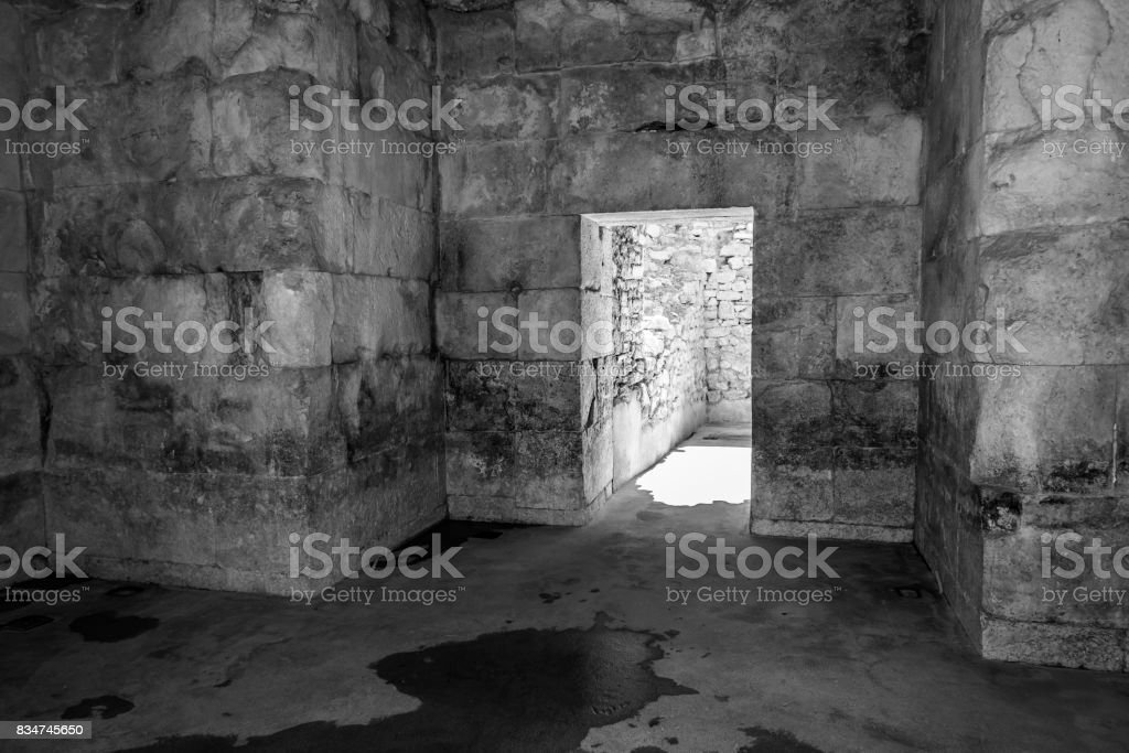 Old abandoned dungeons or catacombs stock photo
