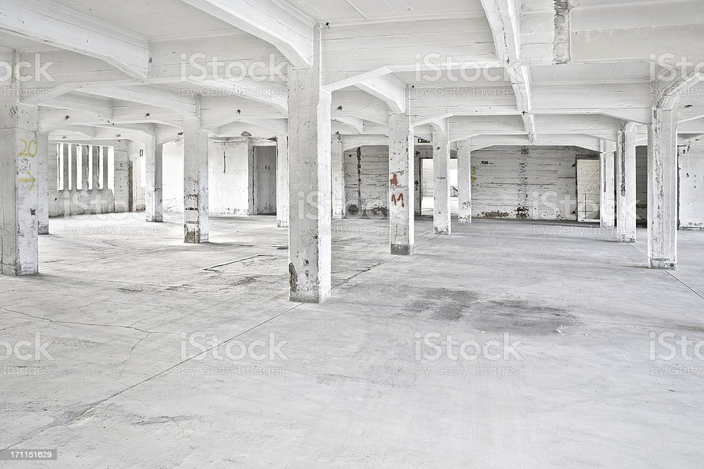 Old abandoned factory building stock photo
