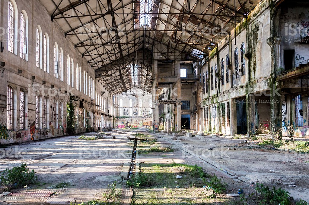 Old abandoned factory stock photo
