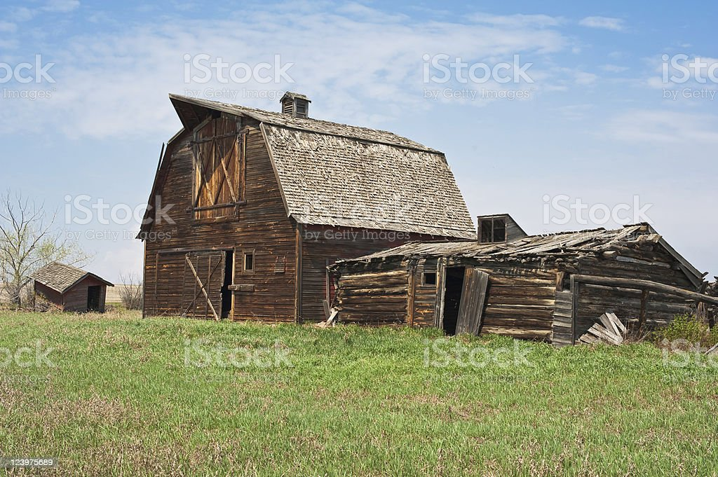 Old abandoned farm building: derelict barn royalty-free stock photo