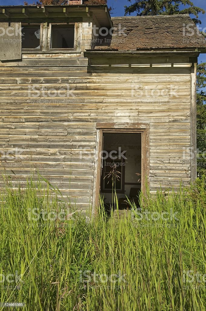 old abandoned farm building: derelict house partial interior royalty-free stock photo