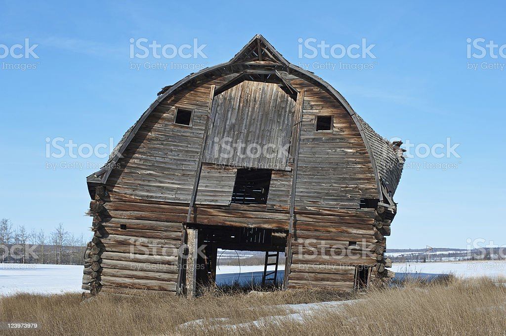 Old abandoned farm building: leaning log barn royalty-free stock photo