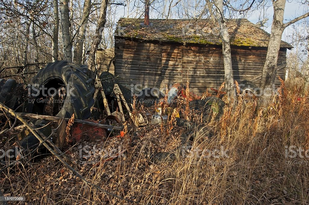 old abandoned farm building: wooden shed or barn with tires royalty-free stock photo