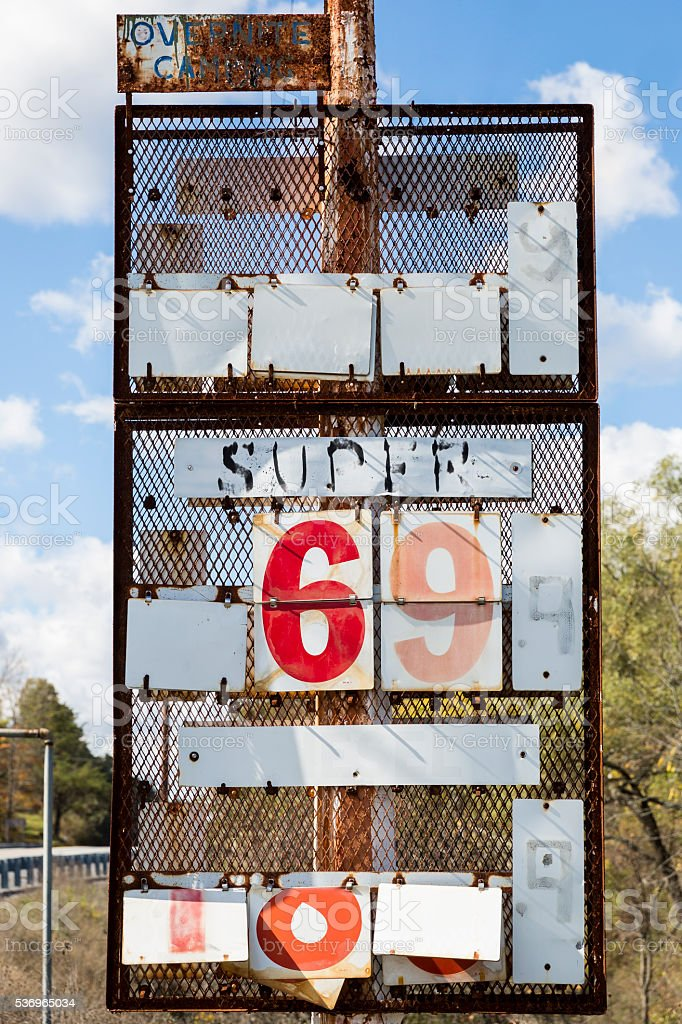 Old Abandoned Gasoline Sign When Prices Were Cheap stock photo