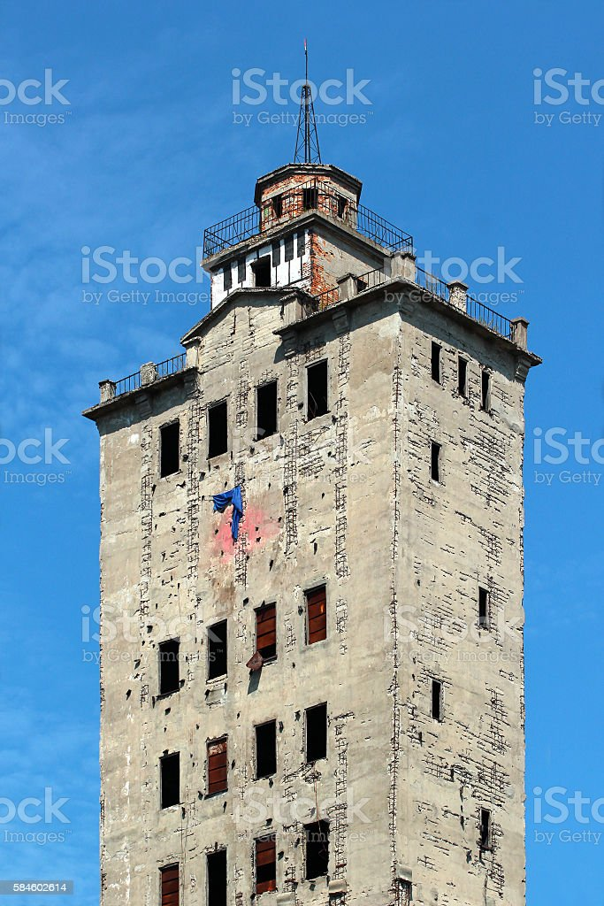 Old abandoned grain elevator tower stock photo