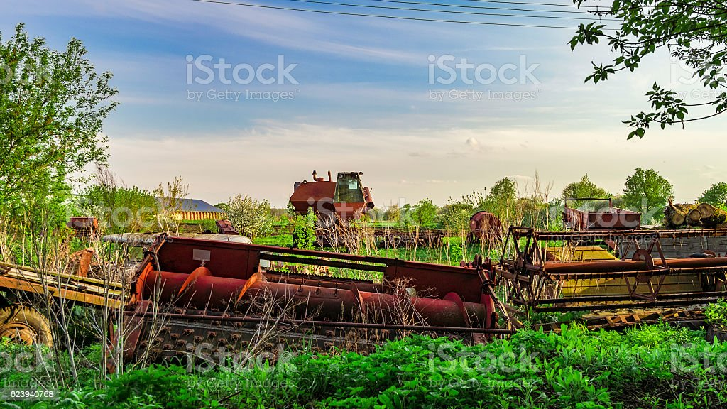 Old abandoned harvester stock photo
