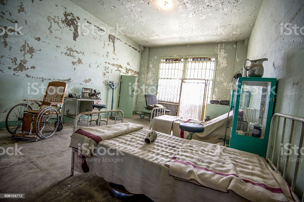 Old Abandoned Hospital Room stock photo