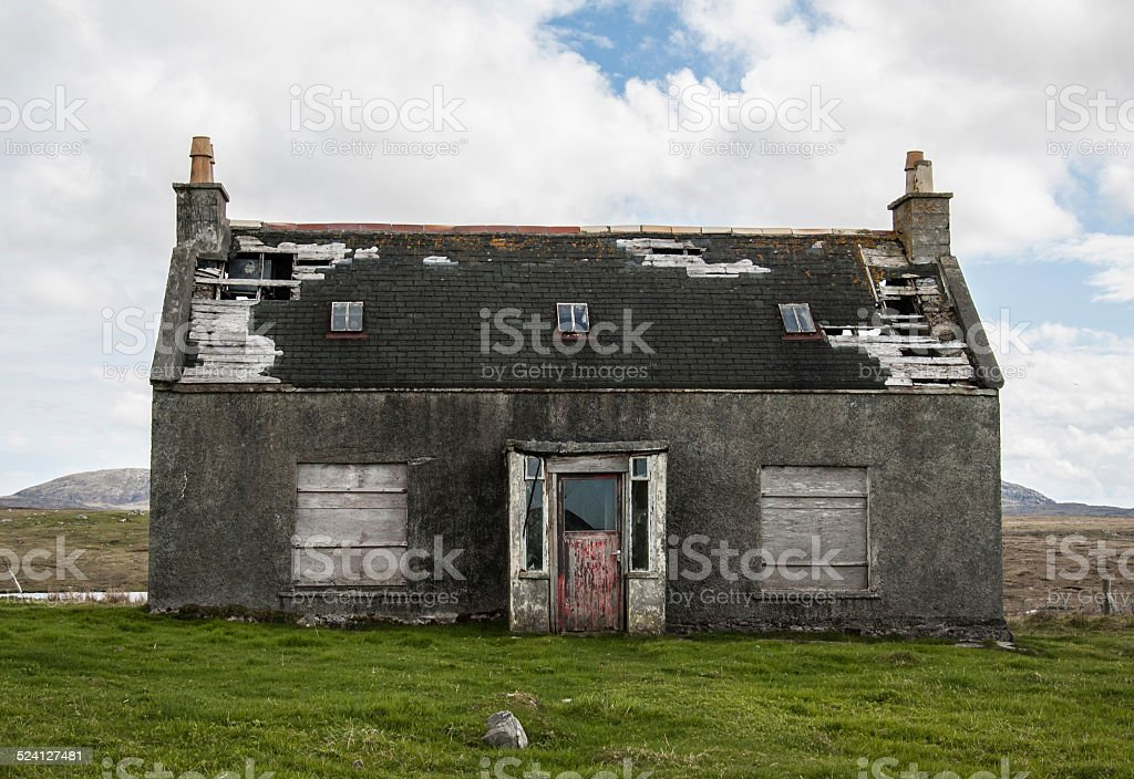 Old abandoned house in the countryside stock photo
