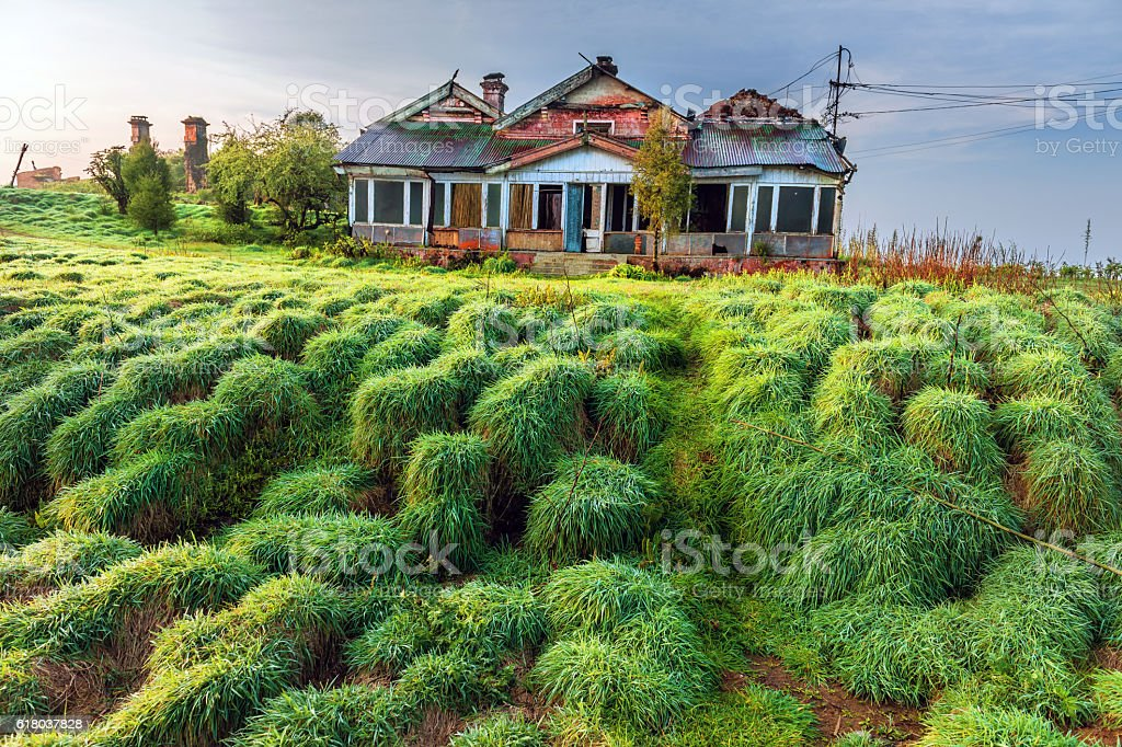 Old Abandoned House ,Tiger Hill, Darjeeling,West Bengal, India stock photo