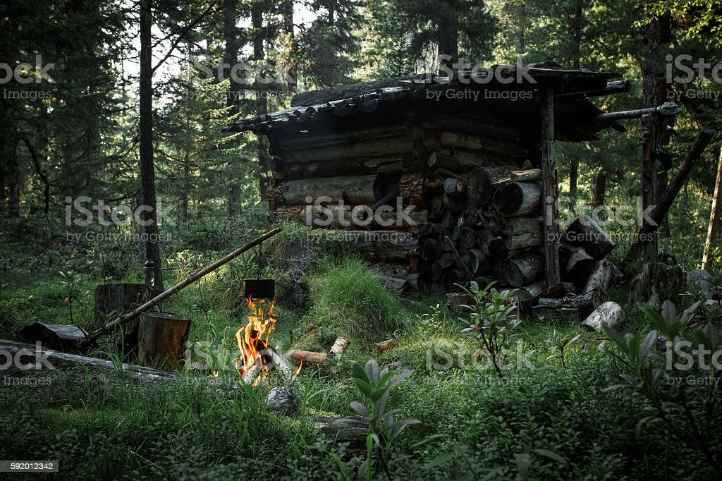 Old abandoned hunter's cabin in taiga forest. Wildlife nature royalty-free stock photo