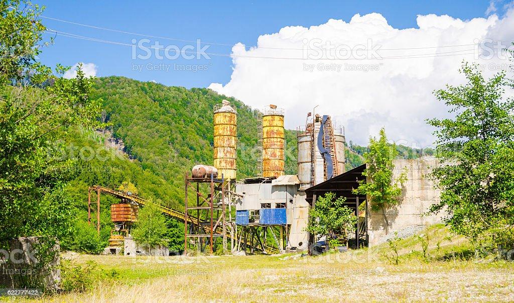 Old abandoned industrial exploatation stock photo