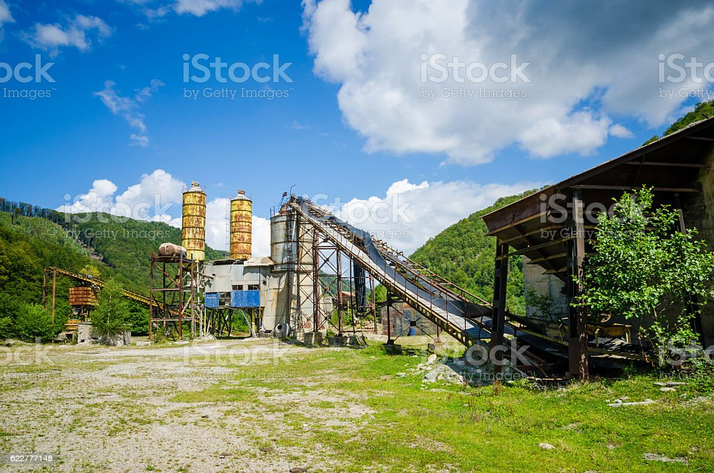 Old abandoned industrial factory stock photo