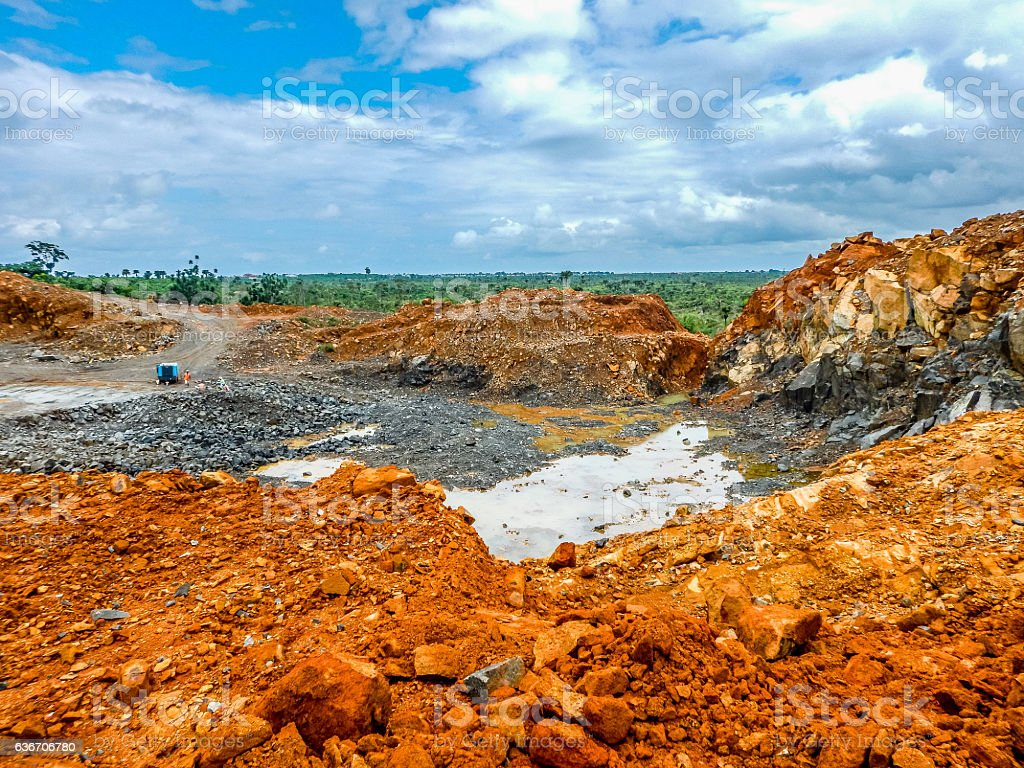Old abandoned iron ore mine in Liberia stock photo