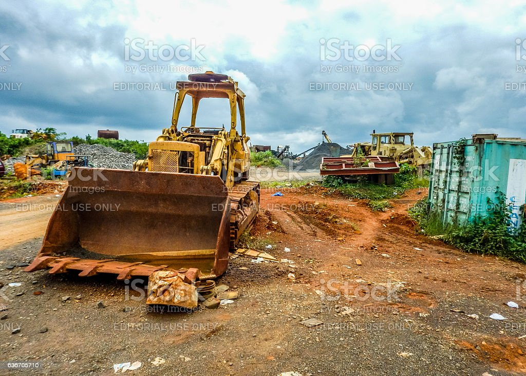 Old abandoned mine in Liberia stock photo