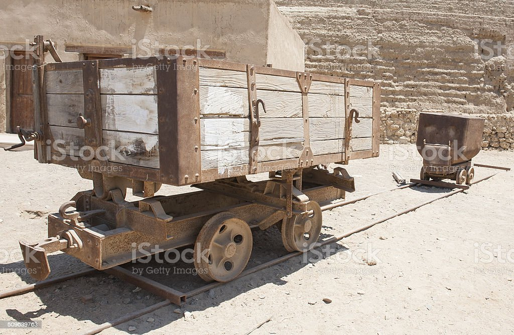 Old abandoned mine railway truck stock photo