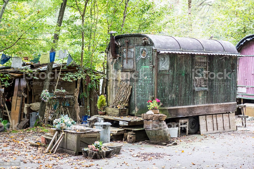 old abandoned mobile home stock photo