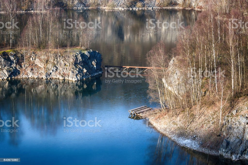 Old abandoned opencast mining stock photo