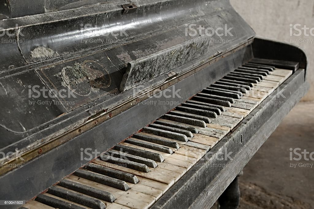 Old Abandoned Piano stock photo