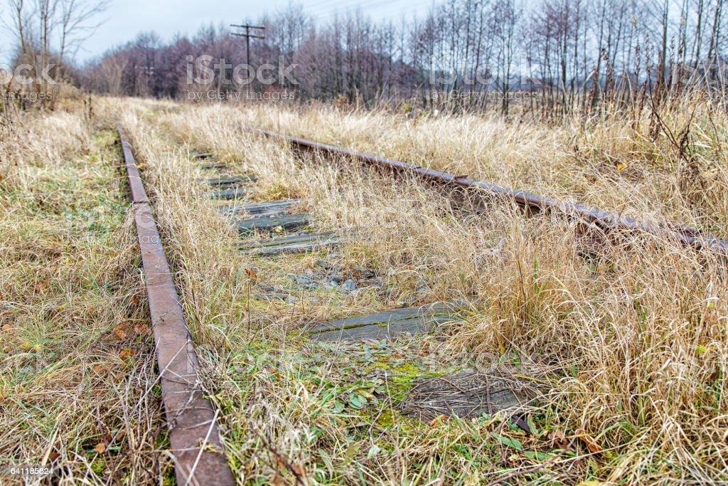 old abandoned railroad stock photo