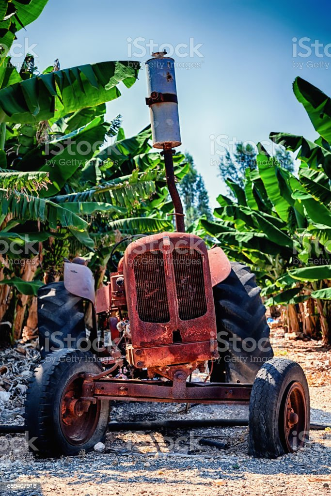 Old abandoned tractor on a banana plantation. Paphos District, Cyprus. stock photo