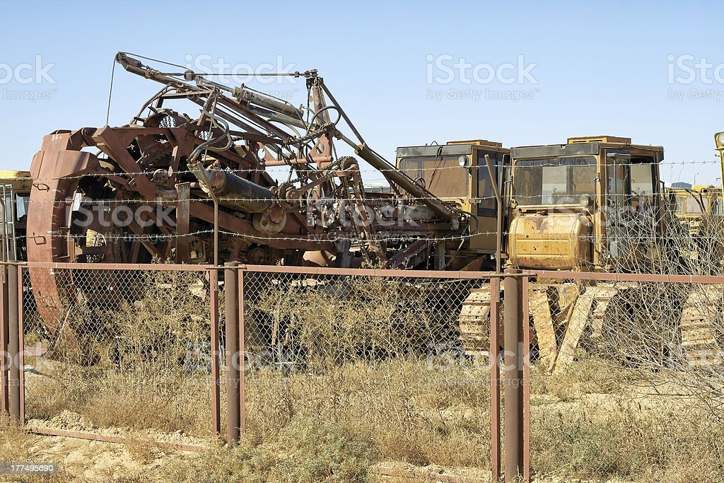 Old abandoned tractor. stock photo