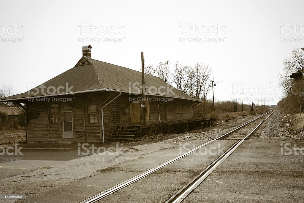Old Abandoned Train Depot stock photo