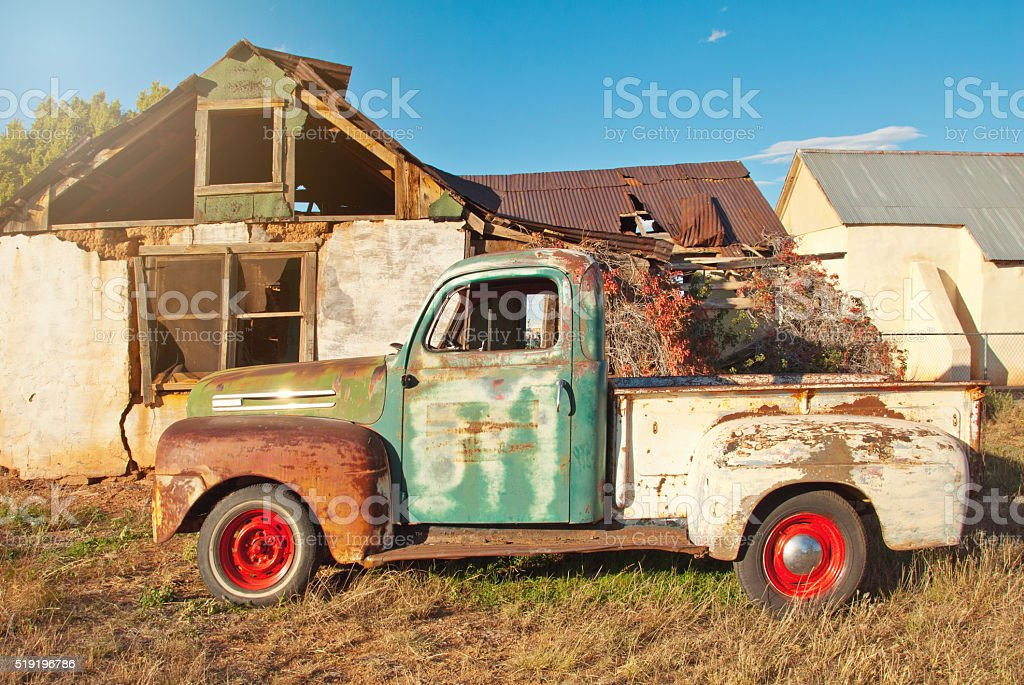 Old Abandoned Truck in the Wild West stock photo