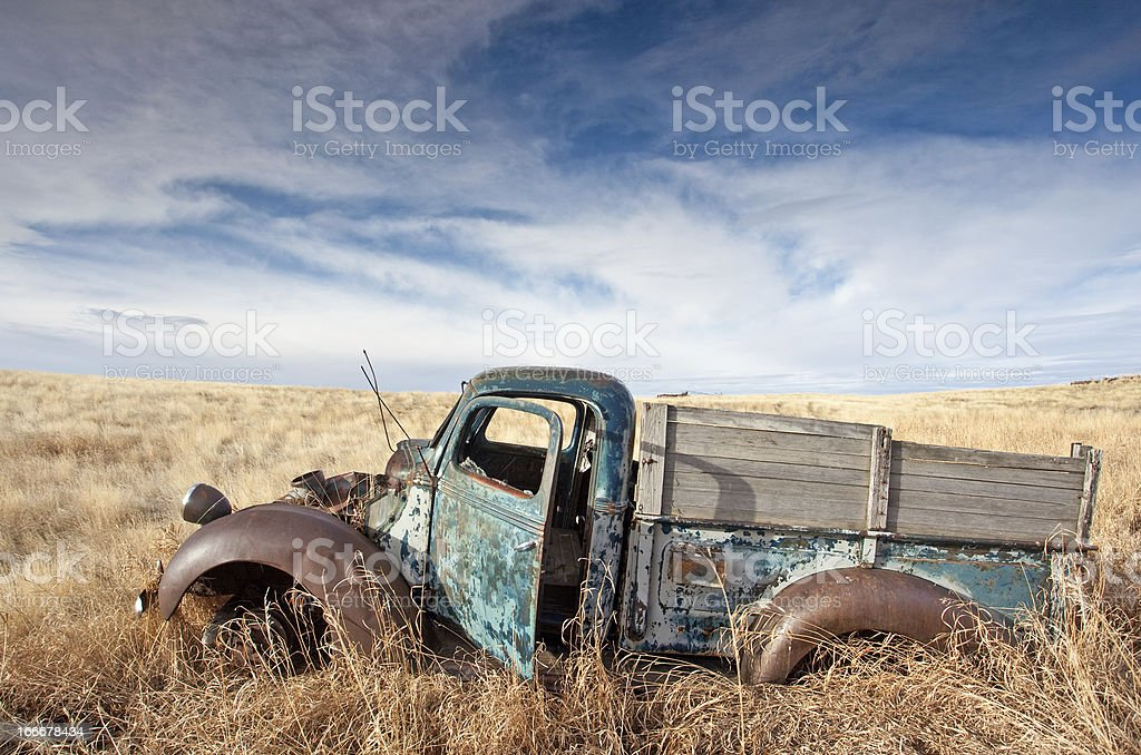 Old Abandoned Truck on the Plains royalty-free stock photo