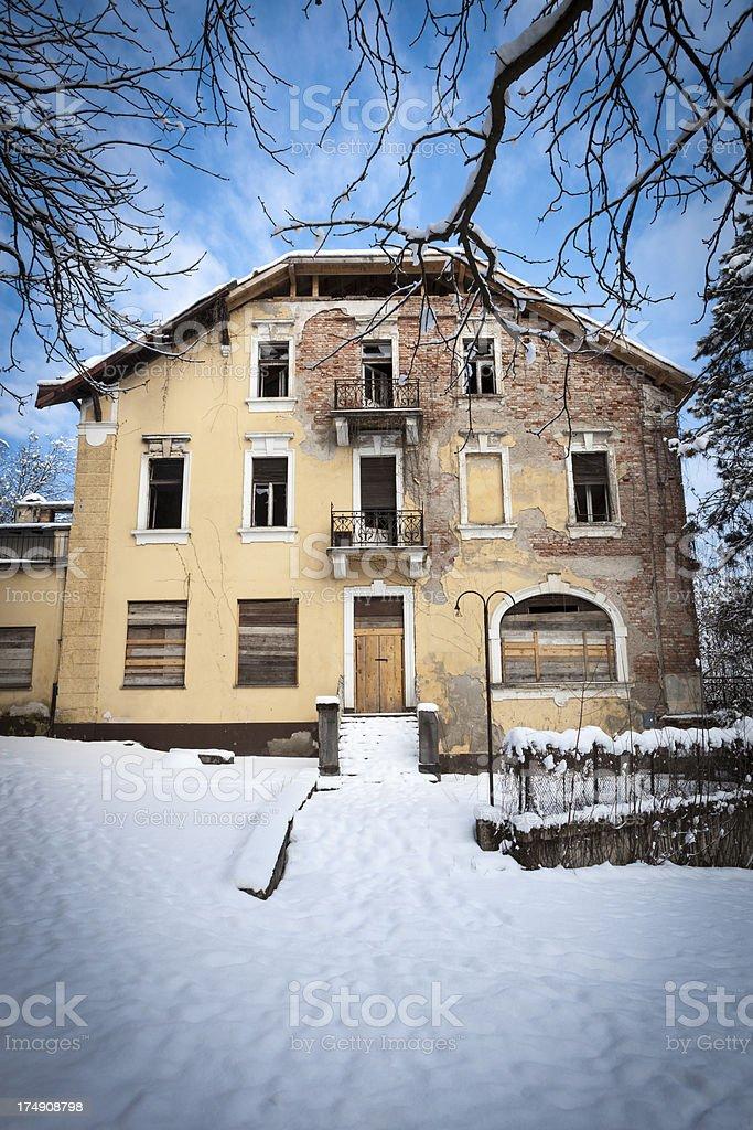 Old abandoned villa stock photo