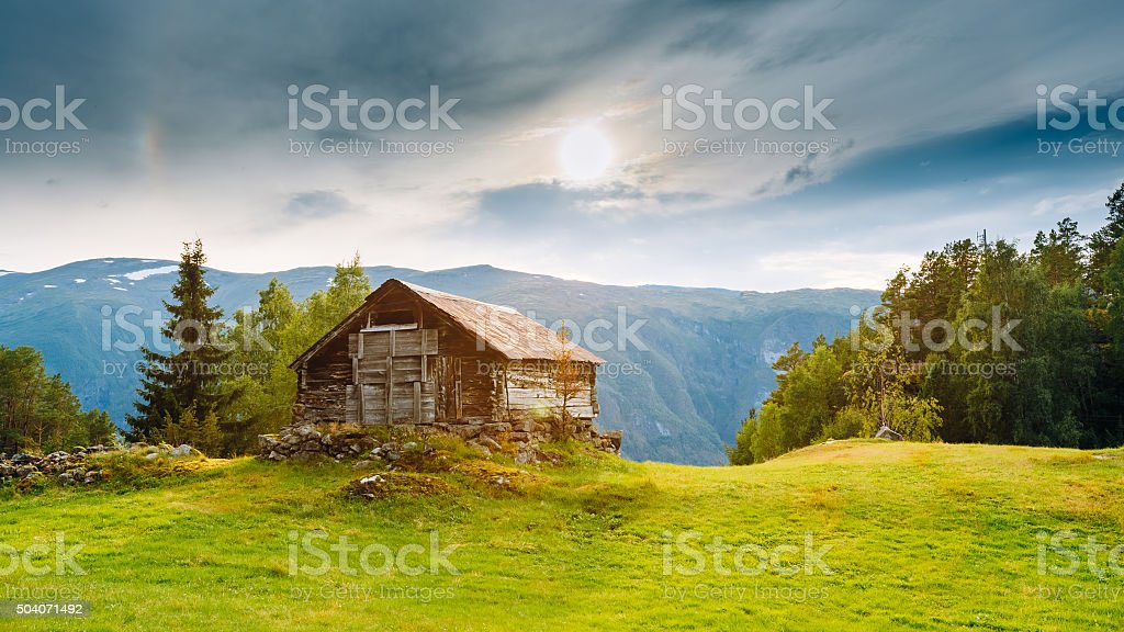 Old abandoned wooden house in Norwegian mountains stock photo