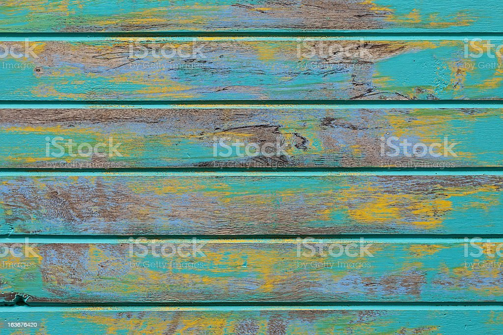Old abstract turquoise wooden board texture. stock photo