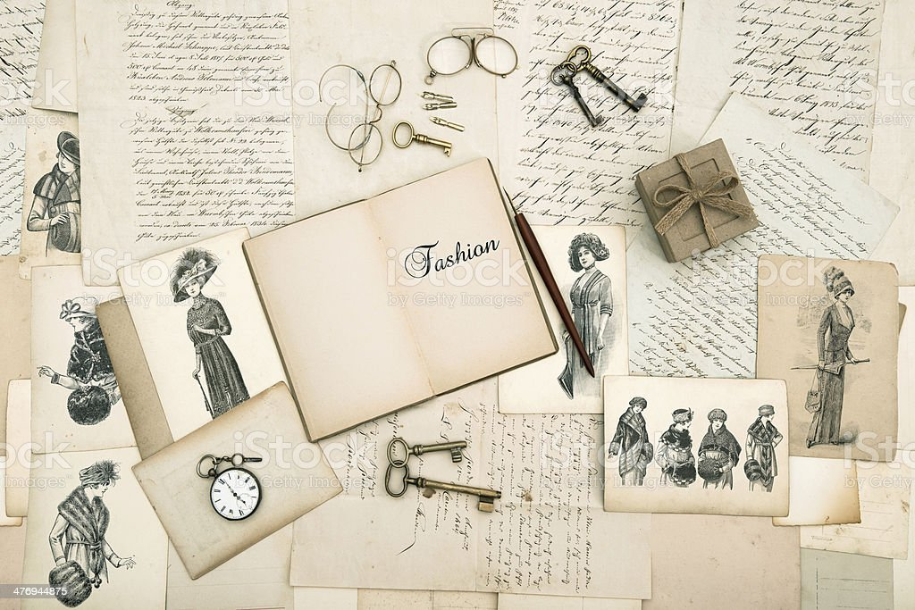 old accessories, letters and fashion drawings from 1911 stock photo
