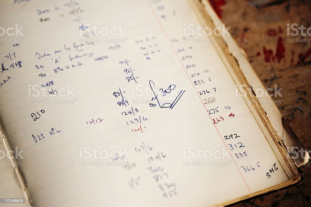 Old accounts book stock photo