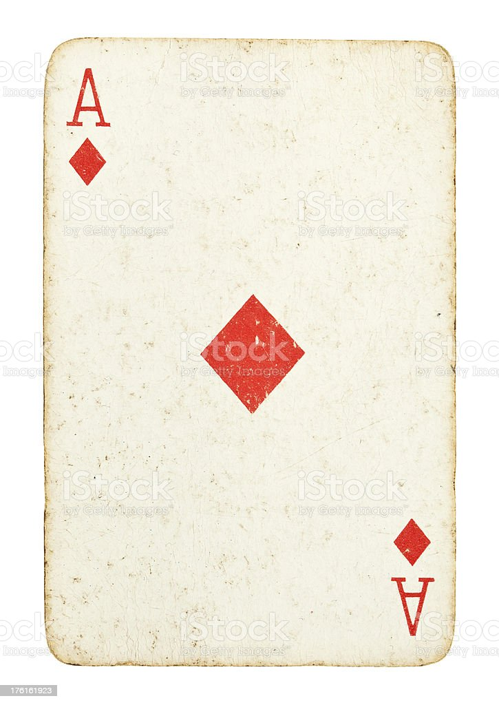 Old Ace of Diamonds Isolated on White stock photo