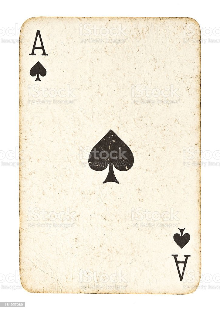 Old Ace of Spades Isolated on White stock photo