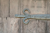 Old acient wrought iron door medieval hinge hand forged