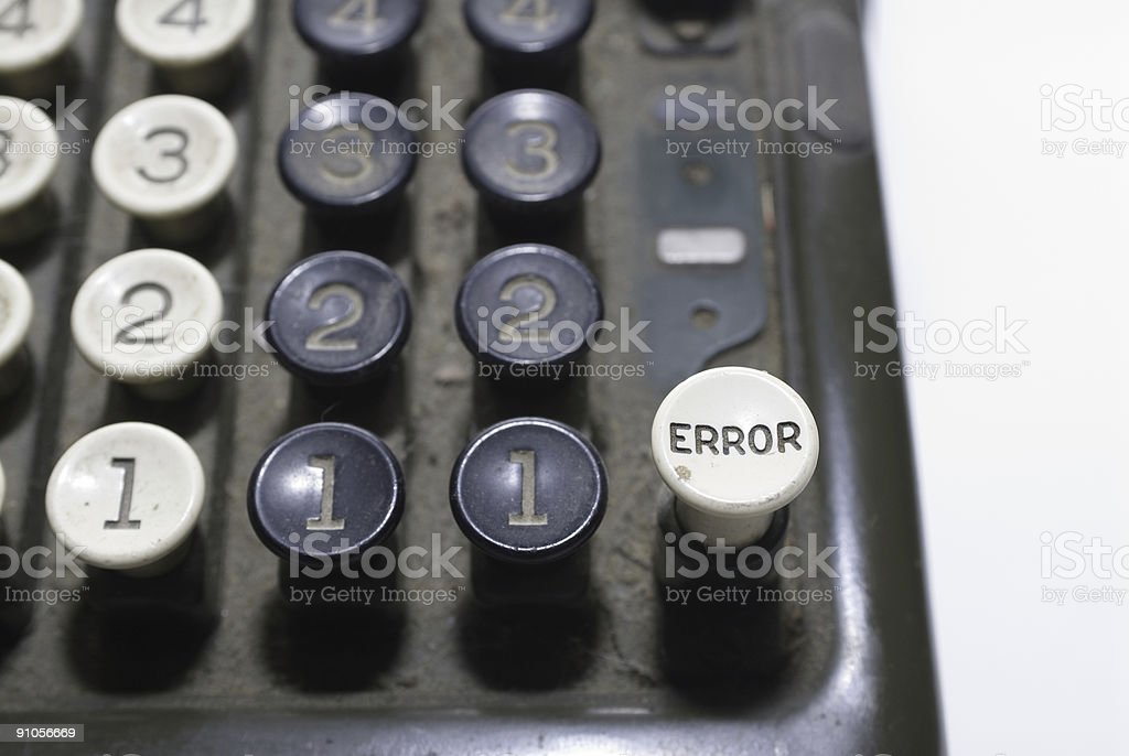 Old Adding Machine: Error Button royalty-free stock photo