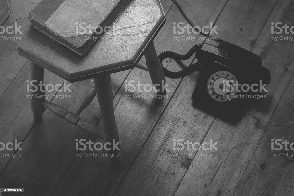 Old address book and phone stock photo
