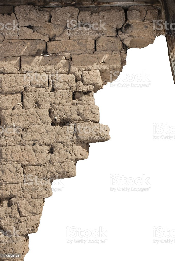 Old Adobe Brick Wall royalty-free stock photo