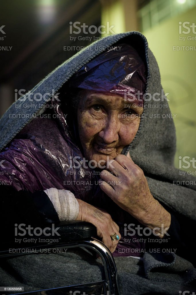 Old Afghan refugee on Lesbos, Greece stock photo