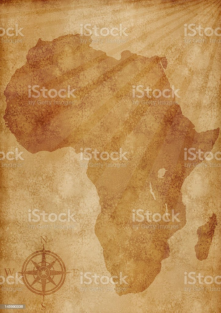 Old Africa map illustration stock photo