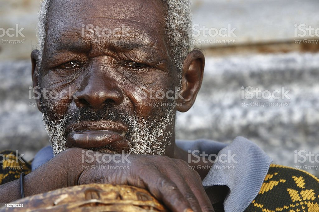 Old African man portrait stock photo