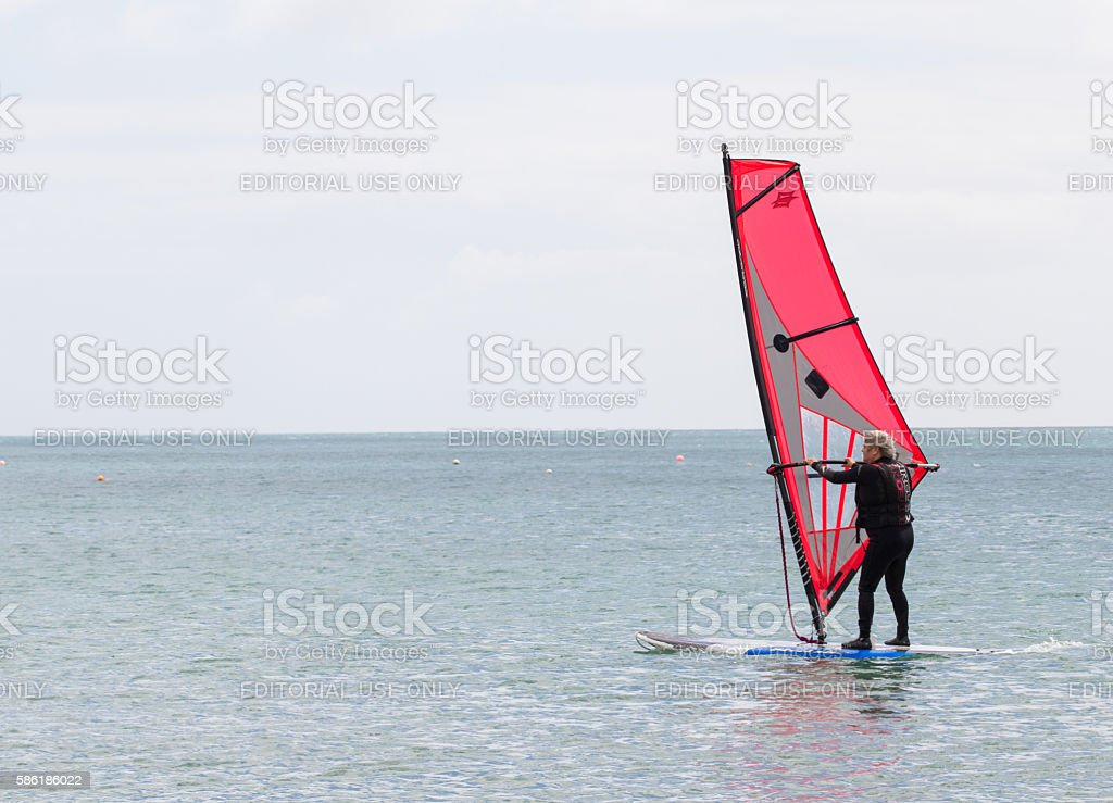Old Age Windsurfer stock photo