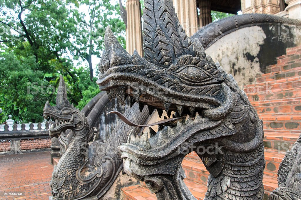 Old aged giant snake, Naka in Haw Pha Kaeo stock photo