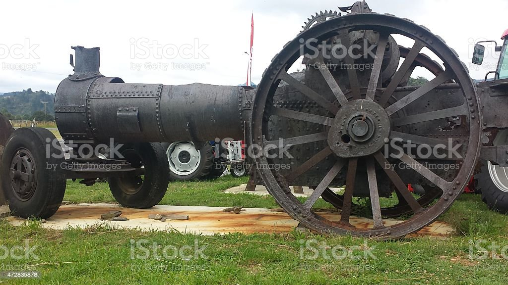 Old agriculture steam engine stock photo