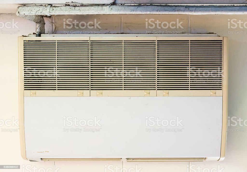 Old air conditioner unit stock photo