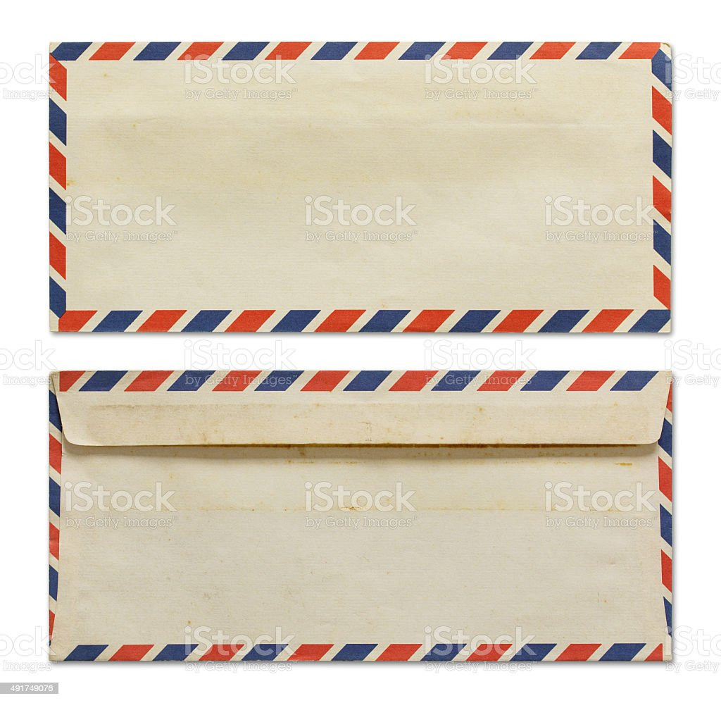 Old air mail envelope isolated on white stock photo