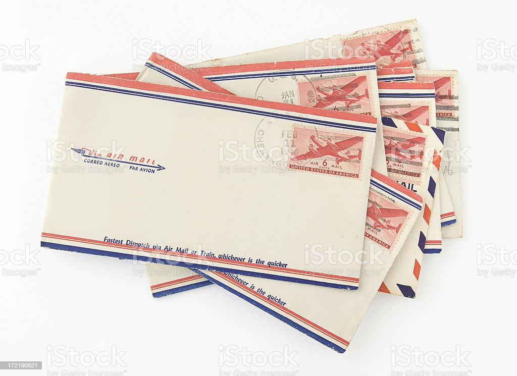 Old Air Mail Envelopes stock photo