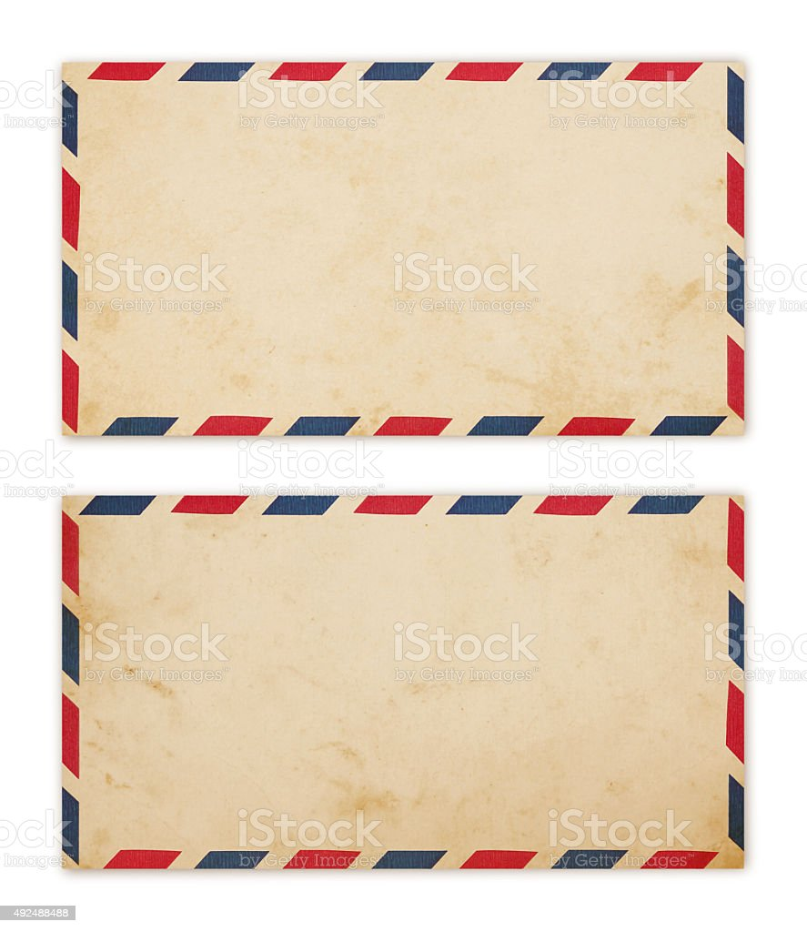 Old Air Mail Envelopes (with path) stock photo