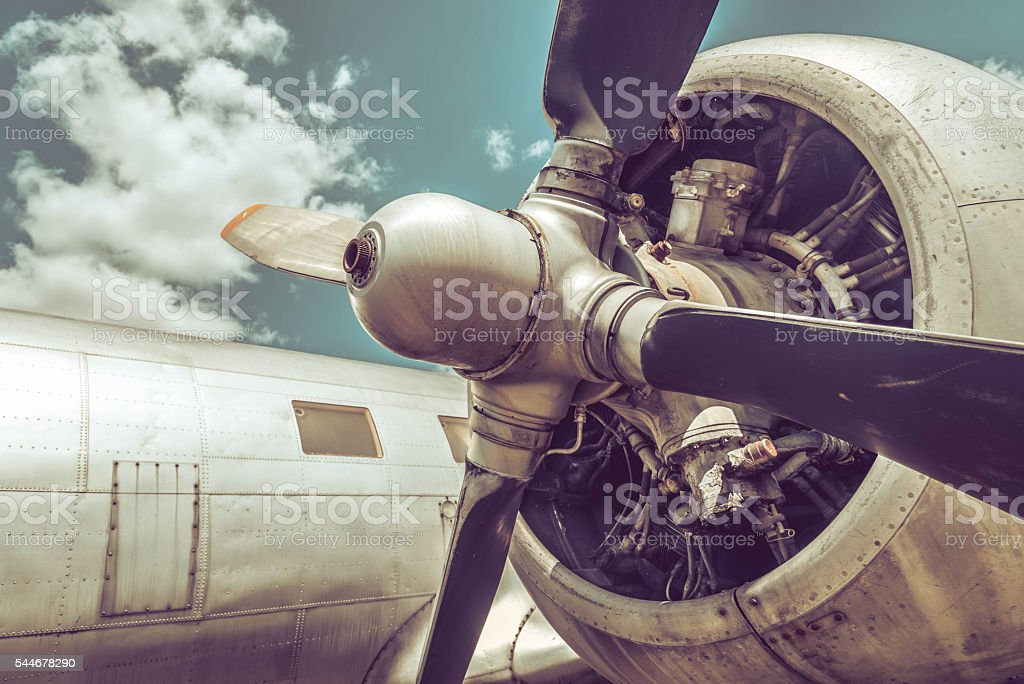 Old aircraft close up stock photo